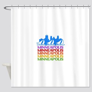 Minneapolis Skyline Rainbow Colors Shower Curtain