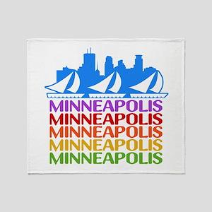 Minneapolis Skyline Rainbow Colors Throw Blanket