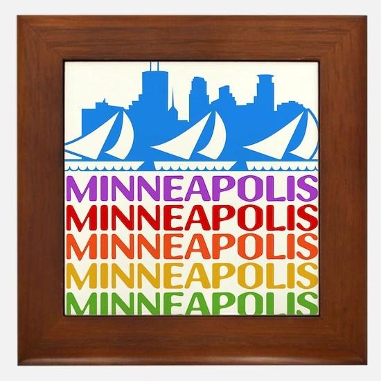 Minneapolis Skyline Rainbow Colors Framed Tile