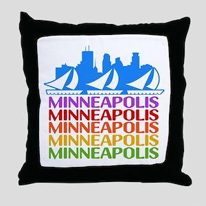 Minneapolis Skyline Rainbow Colors Throw Pillow