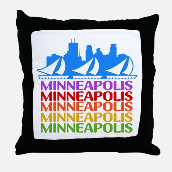 Minneapolis Skyline Rainbow Colors Throw Pillow