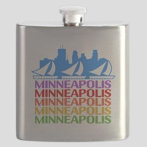 Minneapolis Skyline Rainbow Colors Flask