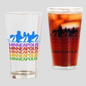 Minneapolis Skyline Rainbow Colors Drinking Glass