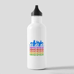 Minneapolis Skyline Rainbow Colors Water Bottle