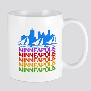 Minneapolis Skyline Rainbow Colors Mugs