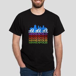 Minneapolis Skyline Rainbow Colors T-Shirt