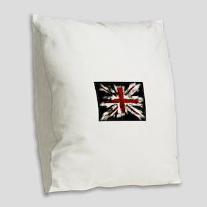 British Flag Union Jack Burlap Throw Pillow