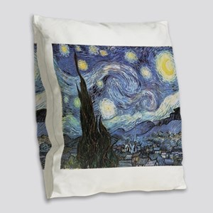 Starry Night Vincent Van Gogh Burlap Throw Pillow