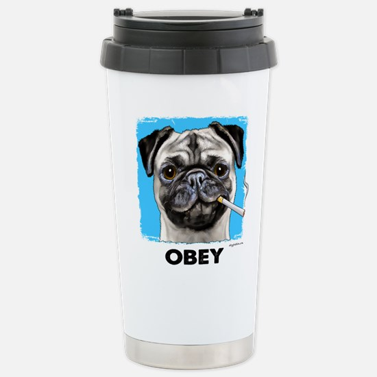 Obey Pug Stainless Steel Travel Mug