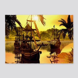 Ships in the sunset 5'x7'Area Rug