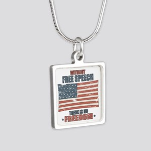Free Speech Silver Square Necklace