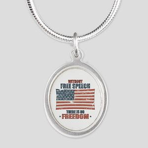 Free Speech Silver Oval Necklace