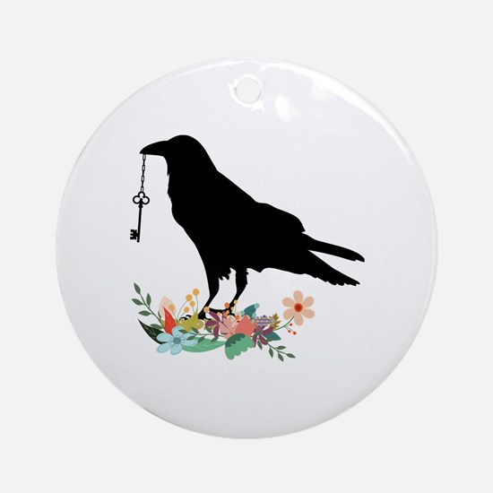 Funny Crow Round Ornament