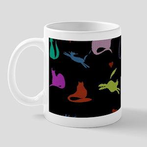 Rainbow Cats on Black Mug