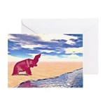 Desert Elephant Quest For Water Greeting Cards