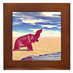 Desert Elephant Quest For Water Framed Tile