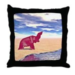 Desert Elephant Quest For Water Throw Pillow