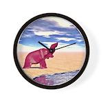 Desert Elephant Quest For Water Wall Clock