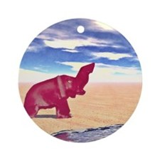 Desert Elephant Quest For Water Ornament (Round)