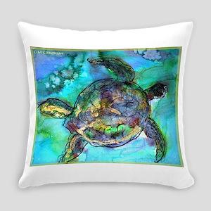 Sea Turtle, Wildlife art! Everyday Pillow