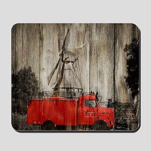farm landscape vintage fire truck Mousepad