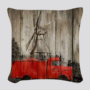 farm landscape vintage fire tr Woven Throw Pillow