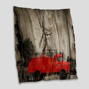 farm landscape vintage fire tr Burlap Throw Pillow