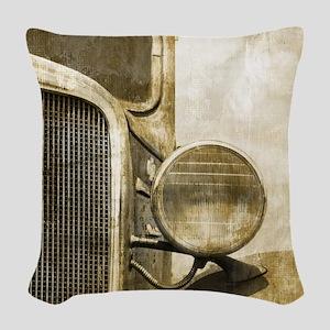 rusty vintage farm truck Woven Throw Pillow