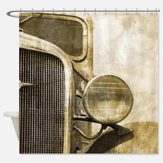 rusty vintage farm truck Shower Curtain