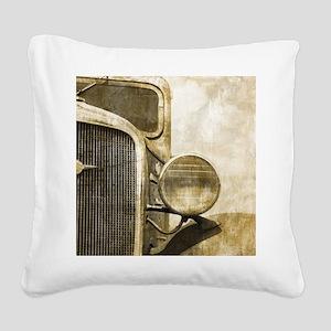 rusty vintage farm truck Square Canvas Pillow