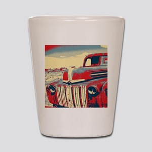 cool retro old truck  Shot Glass