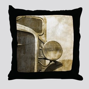rusty vintage farm truck Throw Pillow