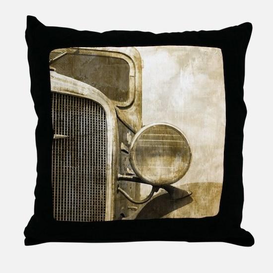 rusty vintage farm truck Throw Pillow