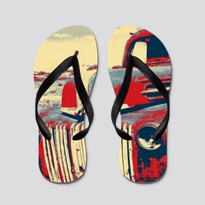 cool retro old truck  Flip Flops