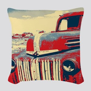 cool retro old truck  Woven Throw Pillow