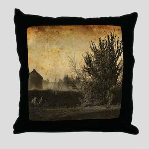 rustic Rural farm landscape Throw Pillow