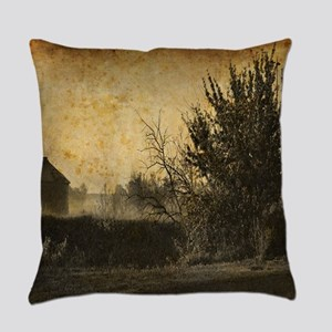 rustic Rural farm landscape Everyday Pillow