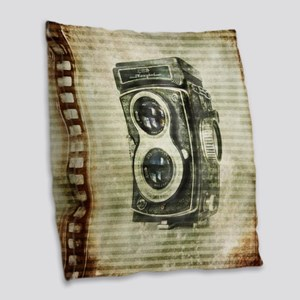 photographer retro camera Burlap Throw Pillow