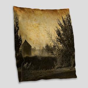 rustic Rural farm landscape Burlap Throw Pillow