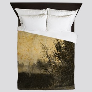 rustic Rural farm landscape Queen Duvet