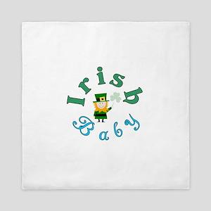 Irish Baby Round logo St Patricks Day Queen Duvet