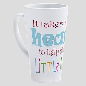 big heart: teacher, 17 oz Latte Mug