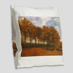 Autumn Lanscape by Van Gogh Burlap Throw Pillow