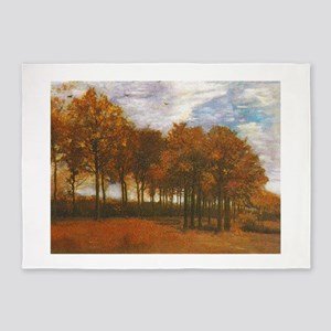 Autumn Lanscape by Van Gogh 5'x7'Area Rug