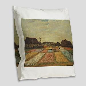 Vincent Van Gogh Bulb Fields Burlap Throw Pillow