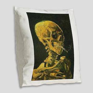 Van Gogh skull Burlap Throw Pillow
