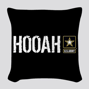 U.S. Army: Hooah (Black) Woven Throw Pillow