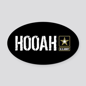 U.S. Army: Hooah (Black) Oval Car Magnet
