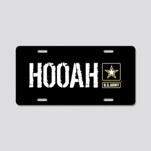 U.S. Army: Hooah (Black) Aluminum License Plate