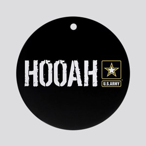 U.S. Army: Hooah (Black) Round Ornament
